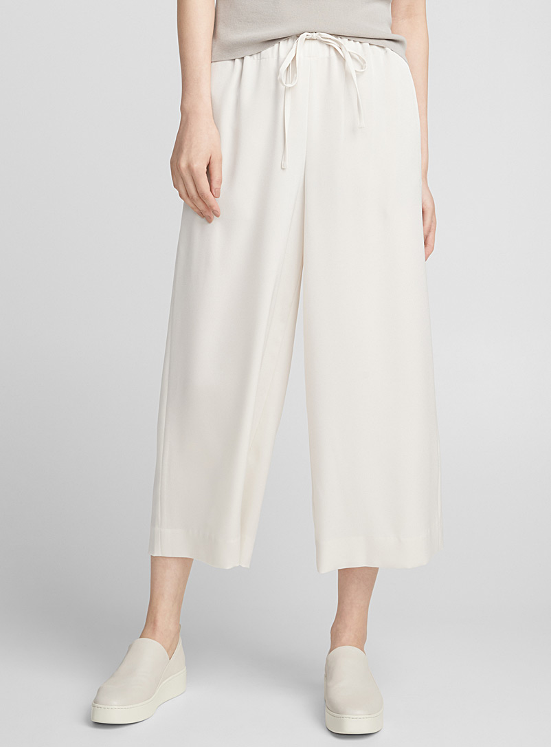 Fluid satin culottes - Collections - Ivory White