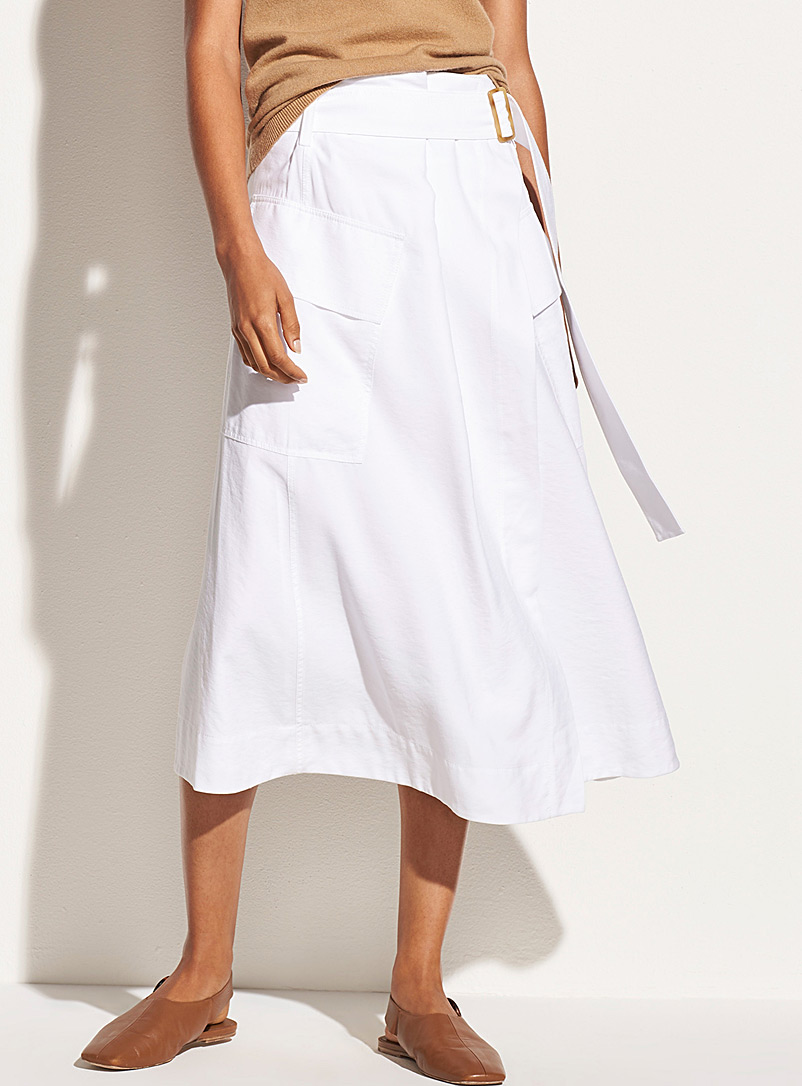 Vince White White midi wrap skirt for women