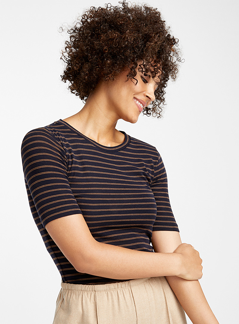 Pima cotton striped tee - Collections - Patterned Blue