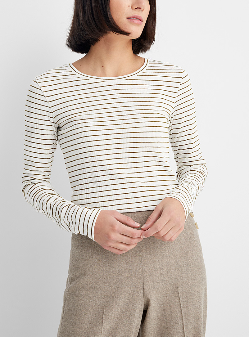 Thin-stripe ribbed tee