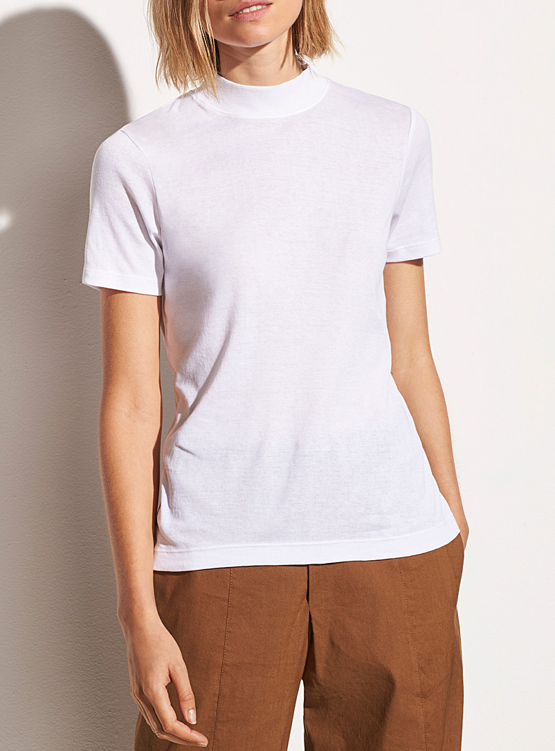 Vince White Pima cotton mock neck tee for women