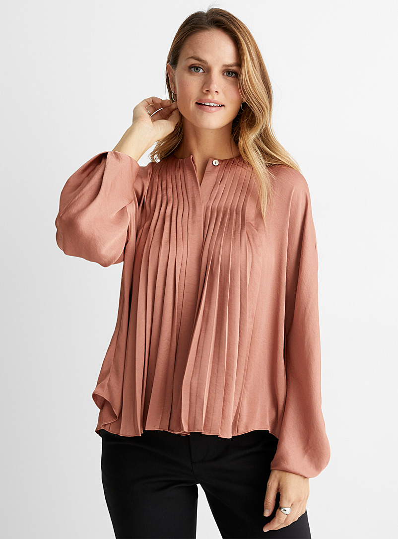 Vince Dusky Pink Silky pleated blouse for women