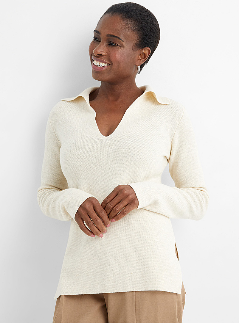 Vince Ivory White Johnny-collar cashmere-wool sweater for women