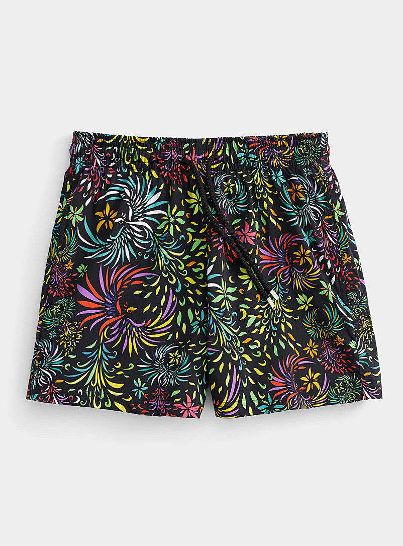 Vilebrequin Patterned Black Evening Birds swim short for men