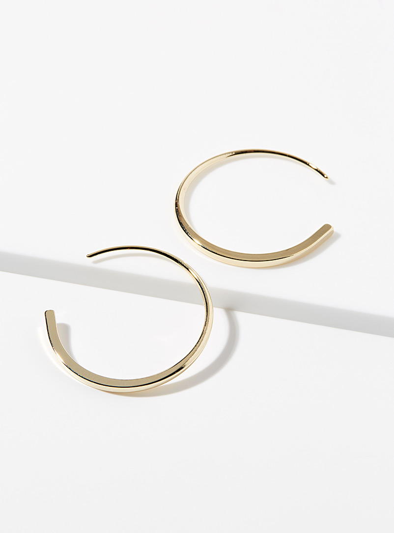Simons Silver Metallic crescent hoops for women