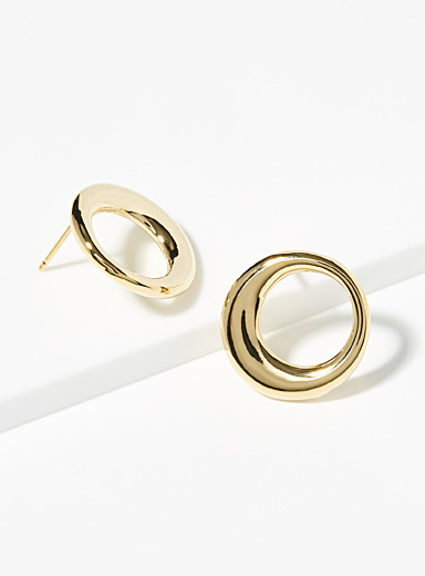Simons Gold Round moon hoops for women