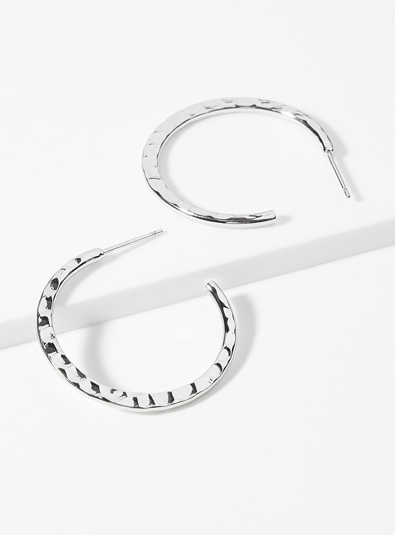 Silver hammered hoops - Earrings