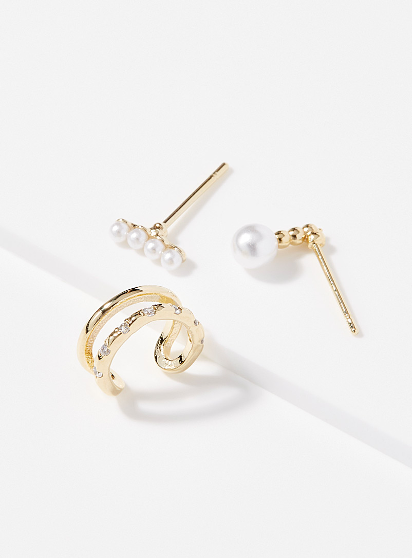 Simons Assorted Pearly trio earrings Set of 3 for women