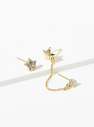 Simons Assorted Star and chain earrings for women