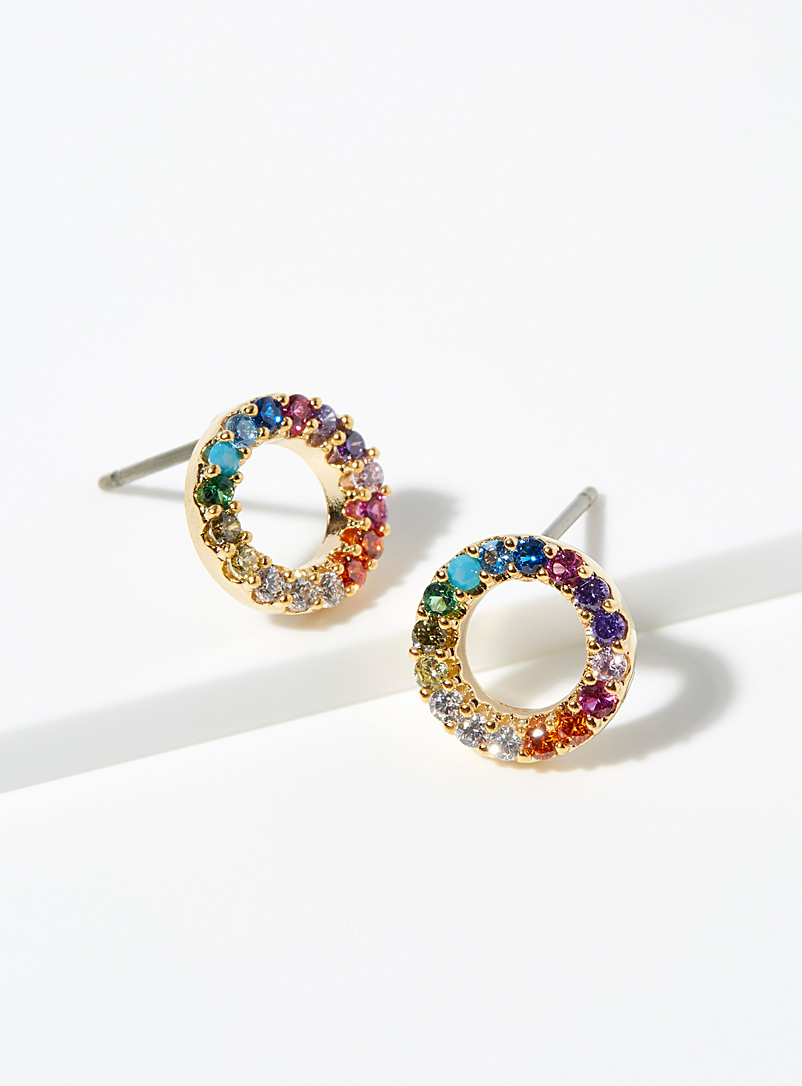 Rainbow circle earrings