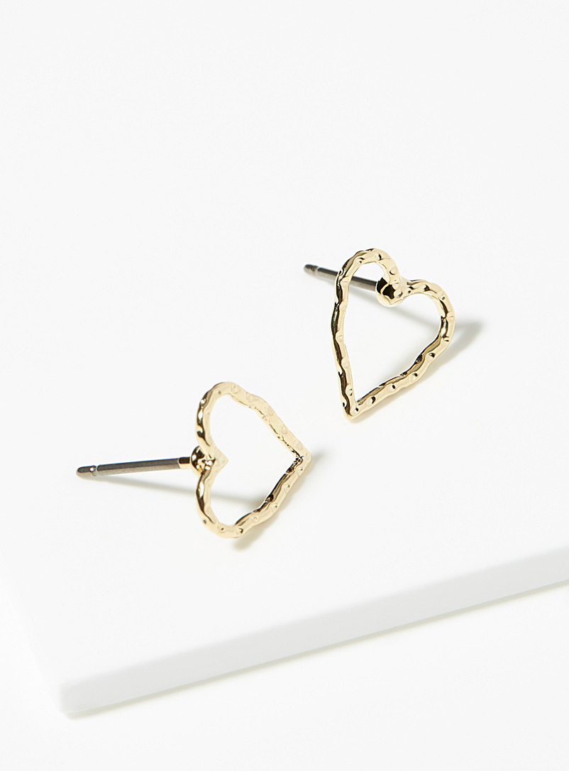 Simons Gold Open heart earrings for women