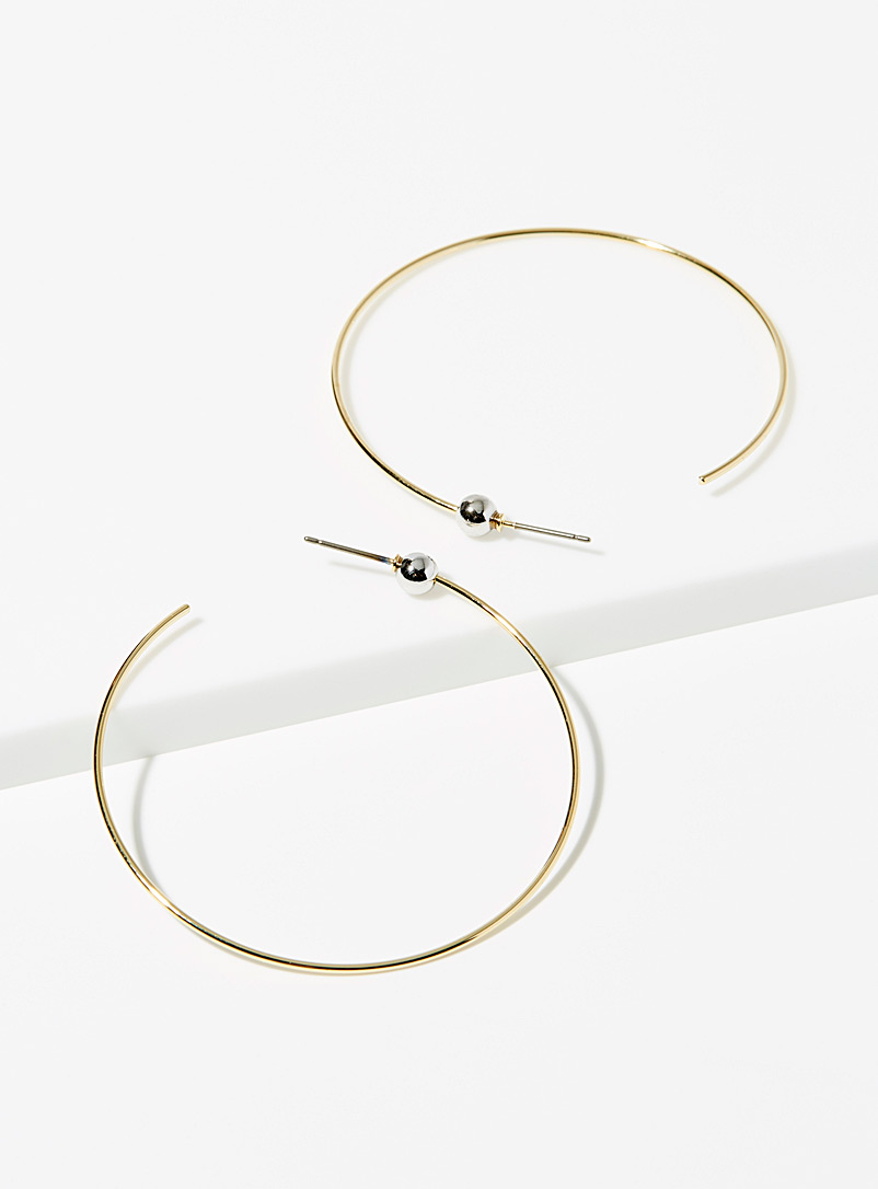 Simons Gold  Two-tone large hoop earrings for women