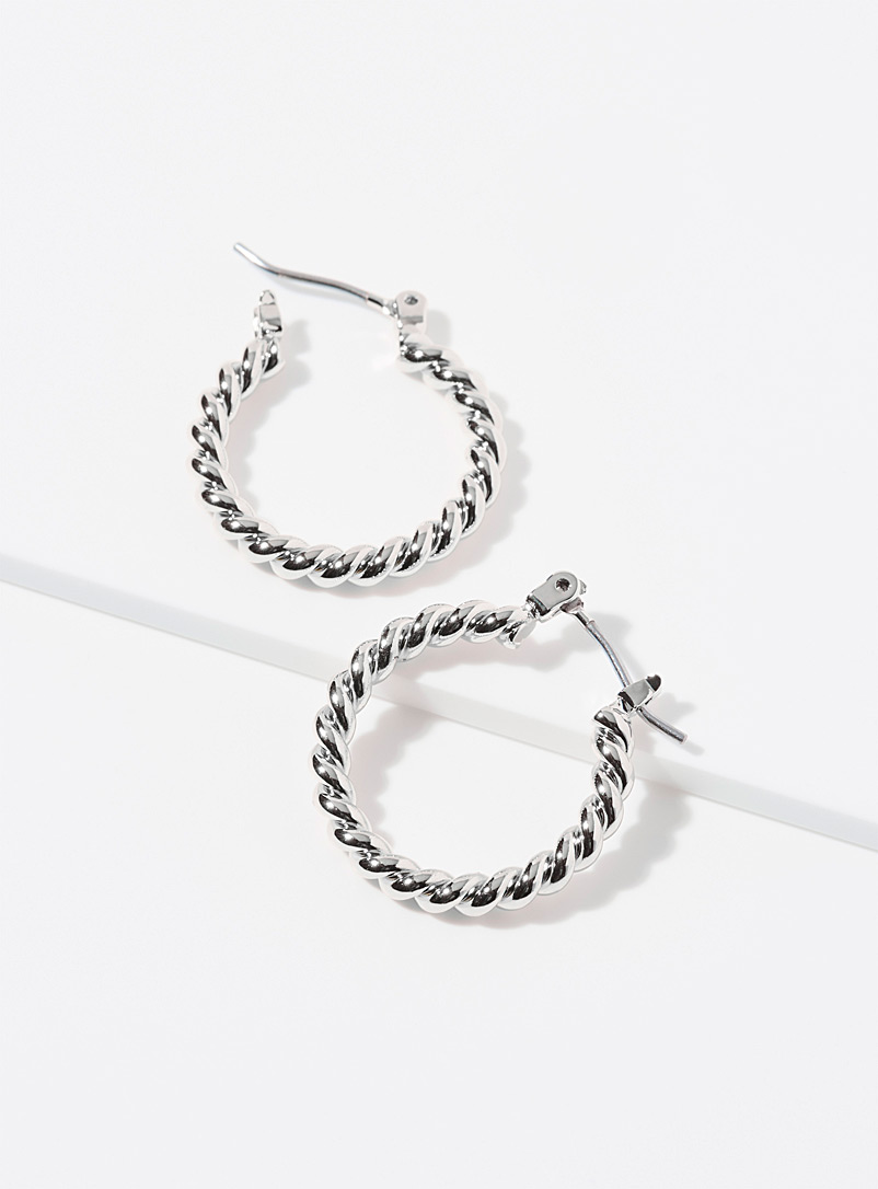 Simons Silver Small twisted metallic hoops for women