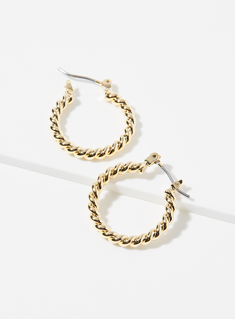 Simons Assorted Small twisted metallic hoops for women