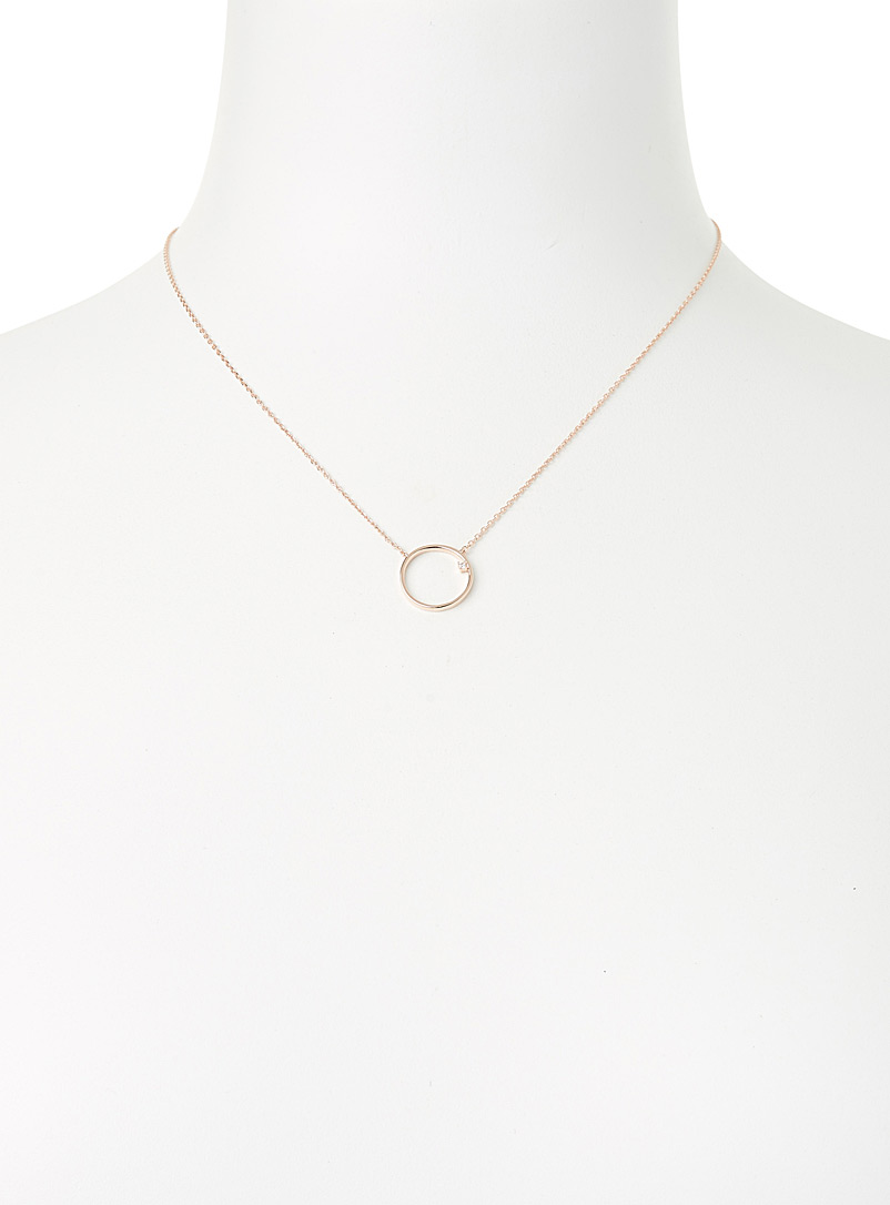 Simons Silver Facetted stone and hoop necklace for women