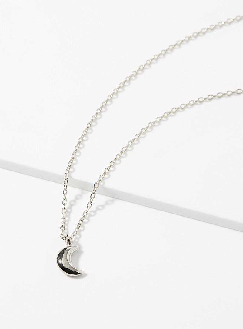 Domed moon necklace - Necklaces - Silver