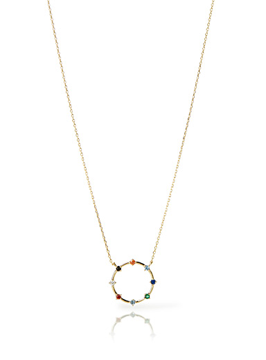 Multicoloured ring necklace