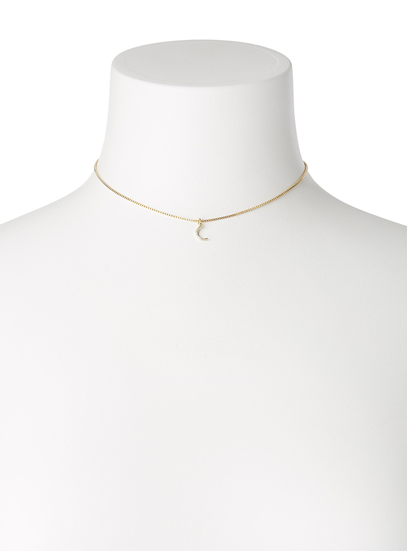 Simons Golden Yellow Starry moon necklace for women