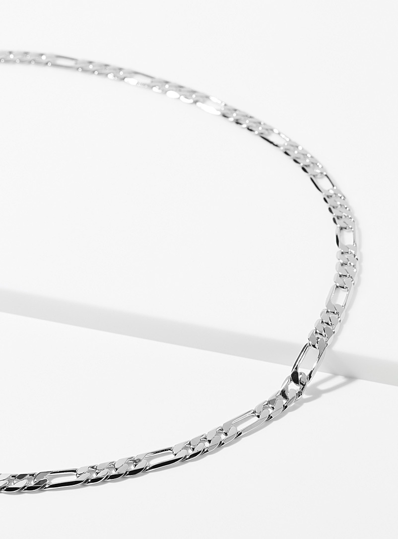 Simons Silver Long figaro chain for women