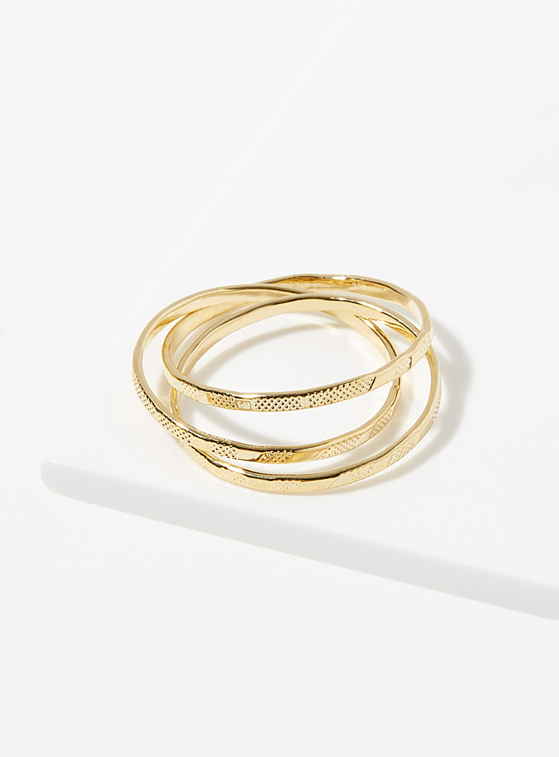 Simons Gold Thin hammered rings  Set of 3 for women