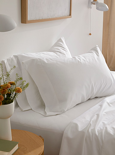 Le Germain Hôtels White Egyptian cotton and bamboo rayon pillowcase set, 330 thread count  Set of 2