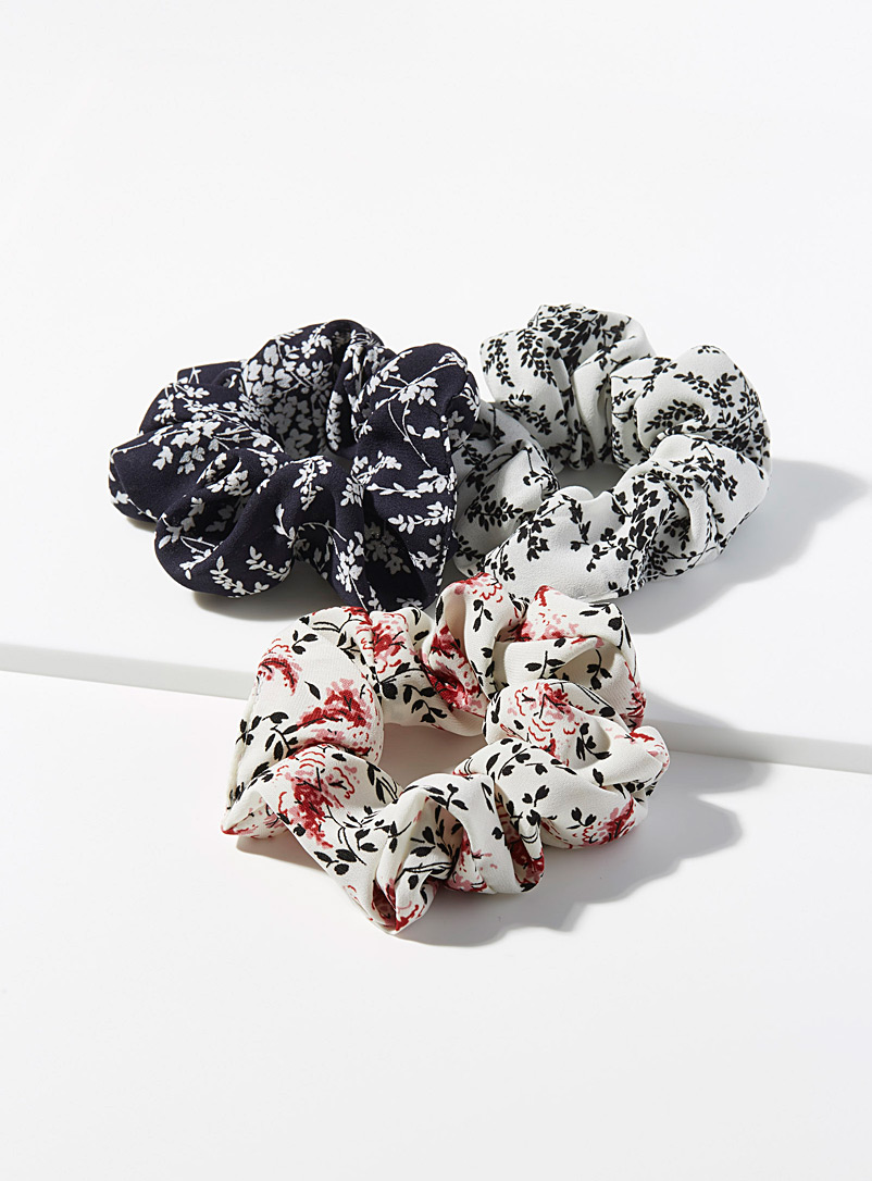 Oriental flower scrunchies  Set of 3