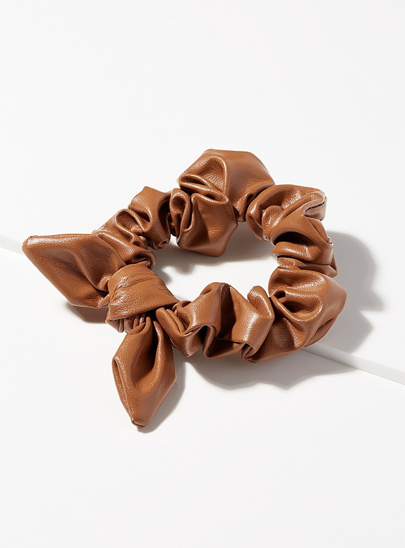 Faux-leather bow scrunchie