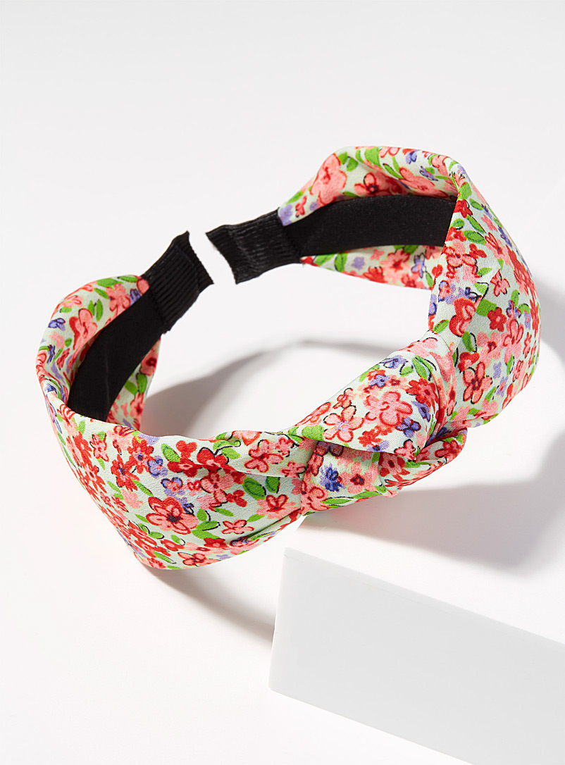 Simons Red Floral knotted headband for women