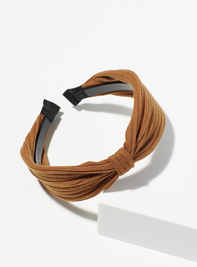 Simons Brown Ribbed fall headband for women