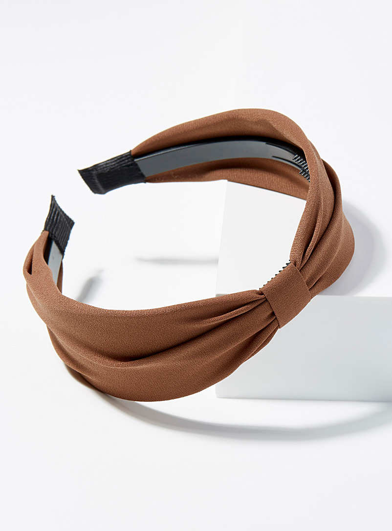 Simons Brown Retro knotted headband for women