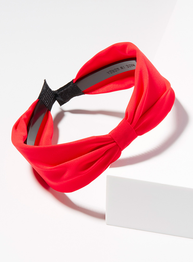 Simons Red Retro knotted headband for women