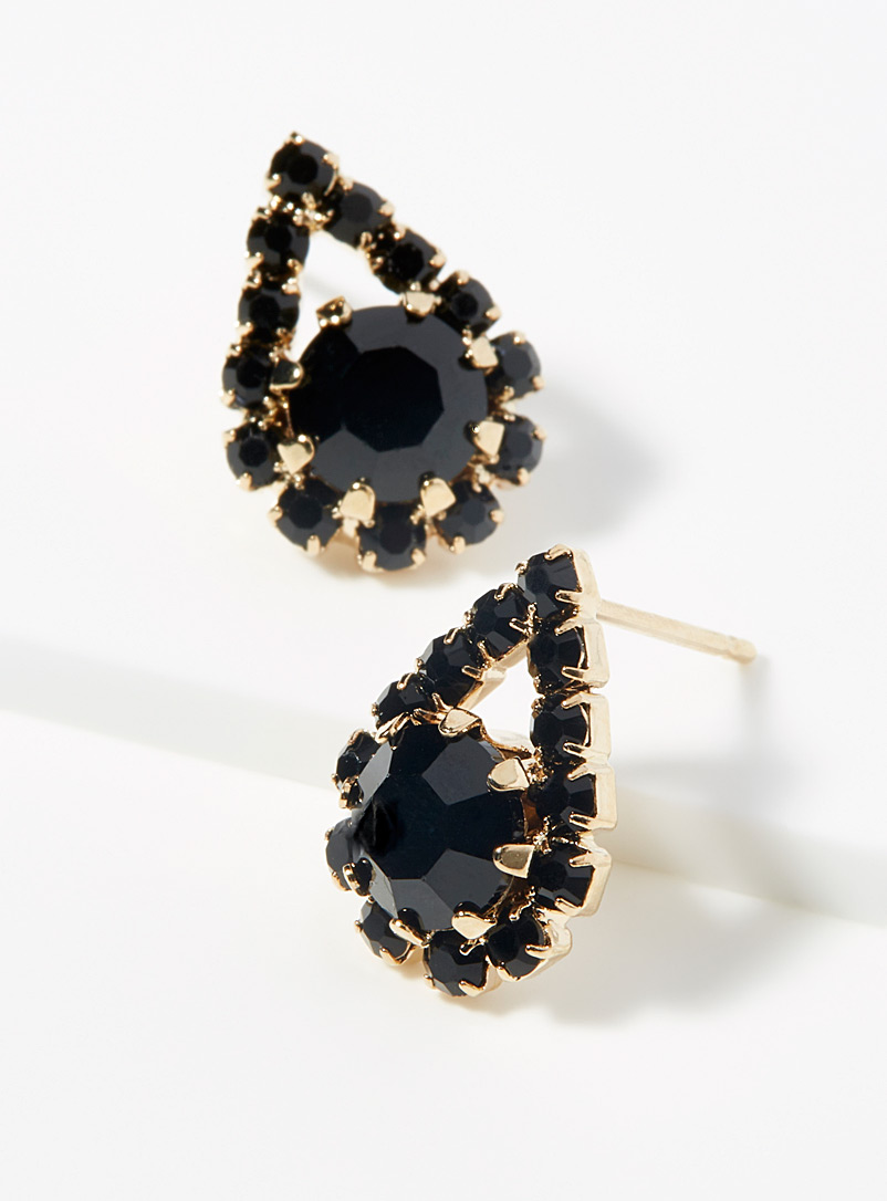 Simons Black Crystal teardrop earrings for women