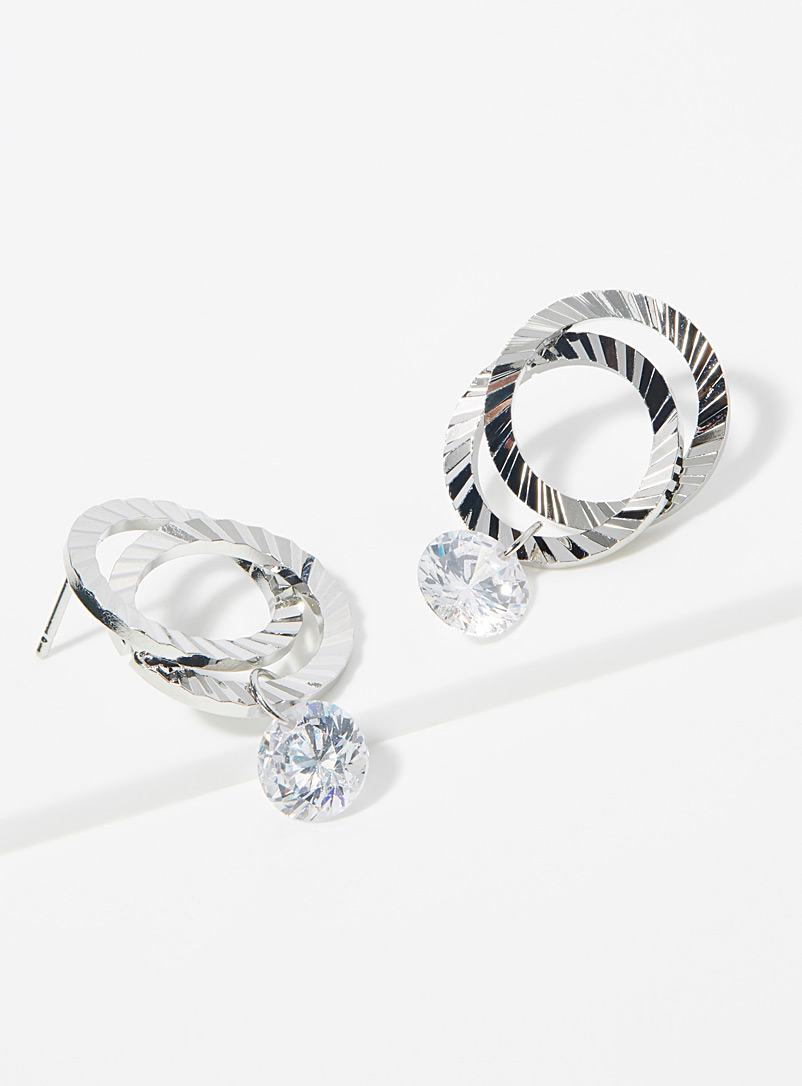 Simons Silver Bright spiral hoops for women