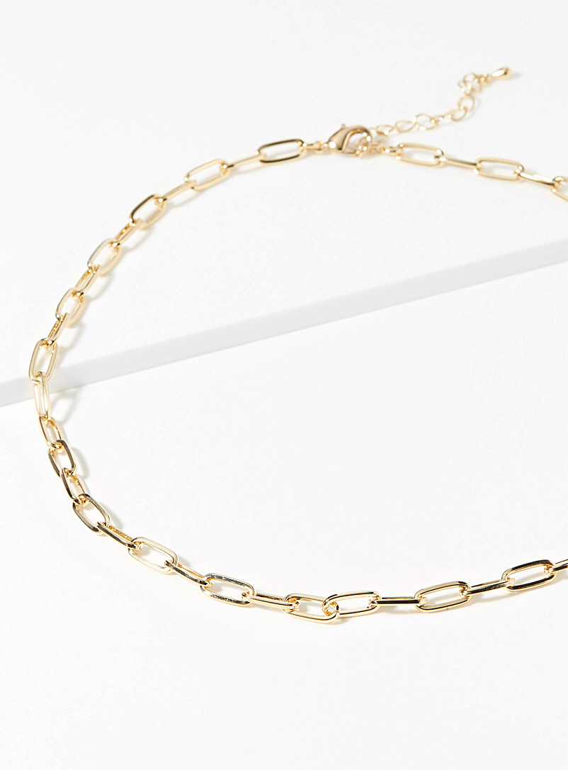 Simons Golden Yellow Paperclip chain necklace for women