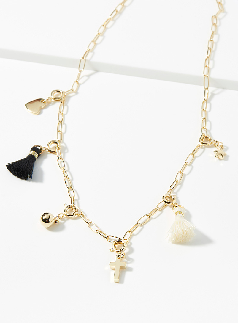 Tassel and charm necklace - Necklaces - Golden Yellow