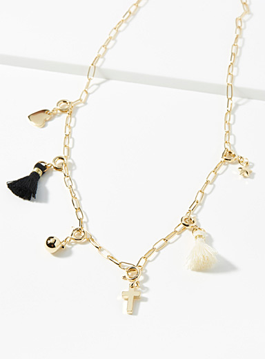 Tassel and charm necklace