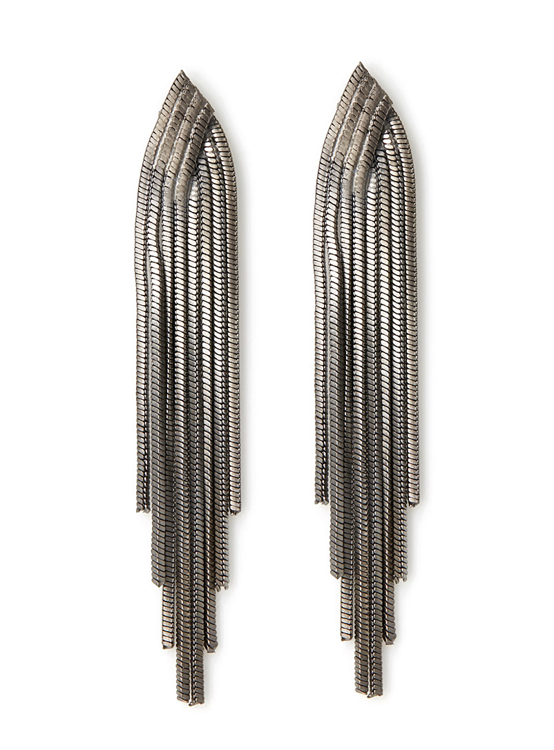 Cascading chain earrings - Earrings - Grey