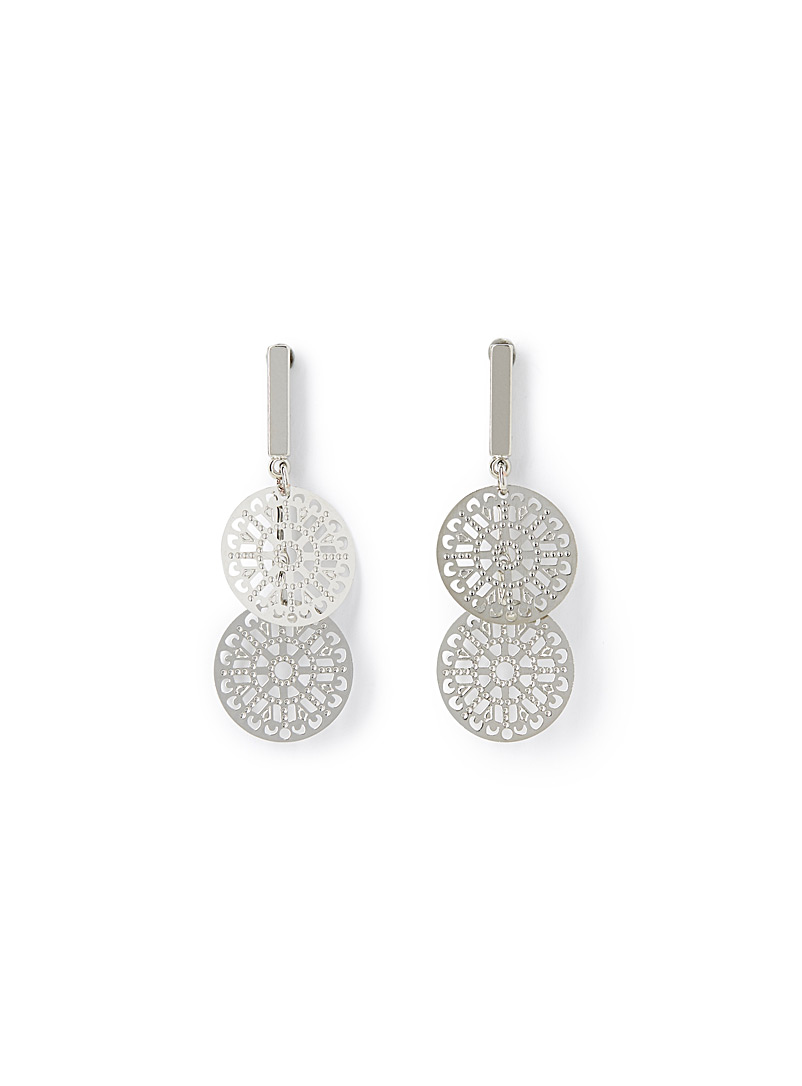 Double mandala earrings - Earrings - Silver