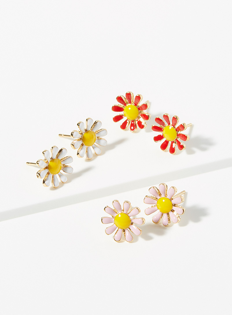 Simons Assorted Colourful daisy earrings  Set of 3 pairs for women
