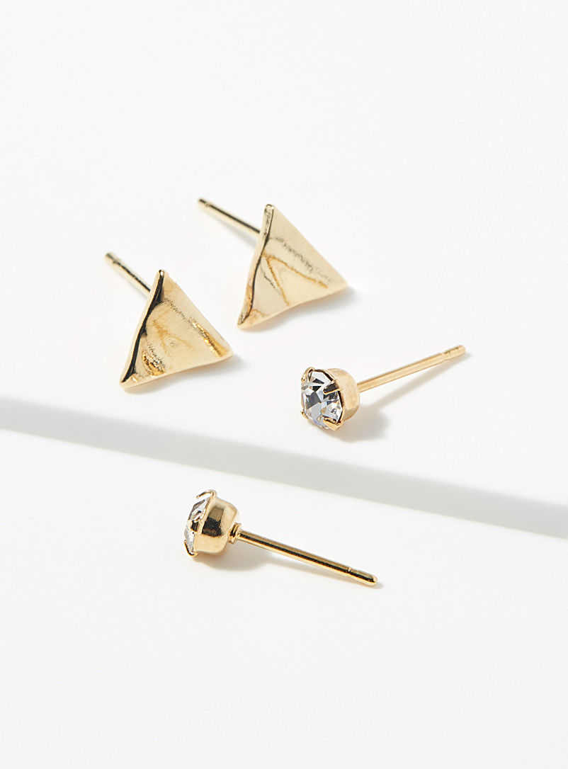 Simons Assorted Crystal and triangle earrings  Set of 2 for women