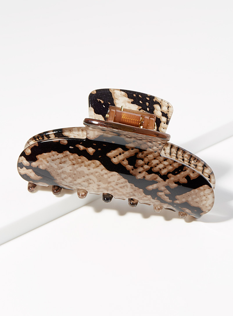Snake print clip - Barrettes and Clips - Patterned Brown