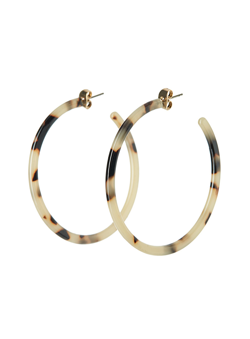 Simons Tan Tortoiseshell hoops for women
