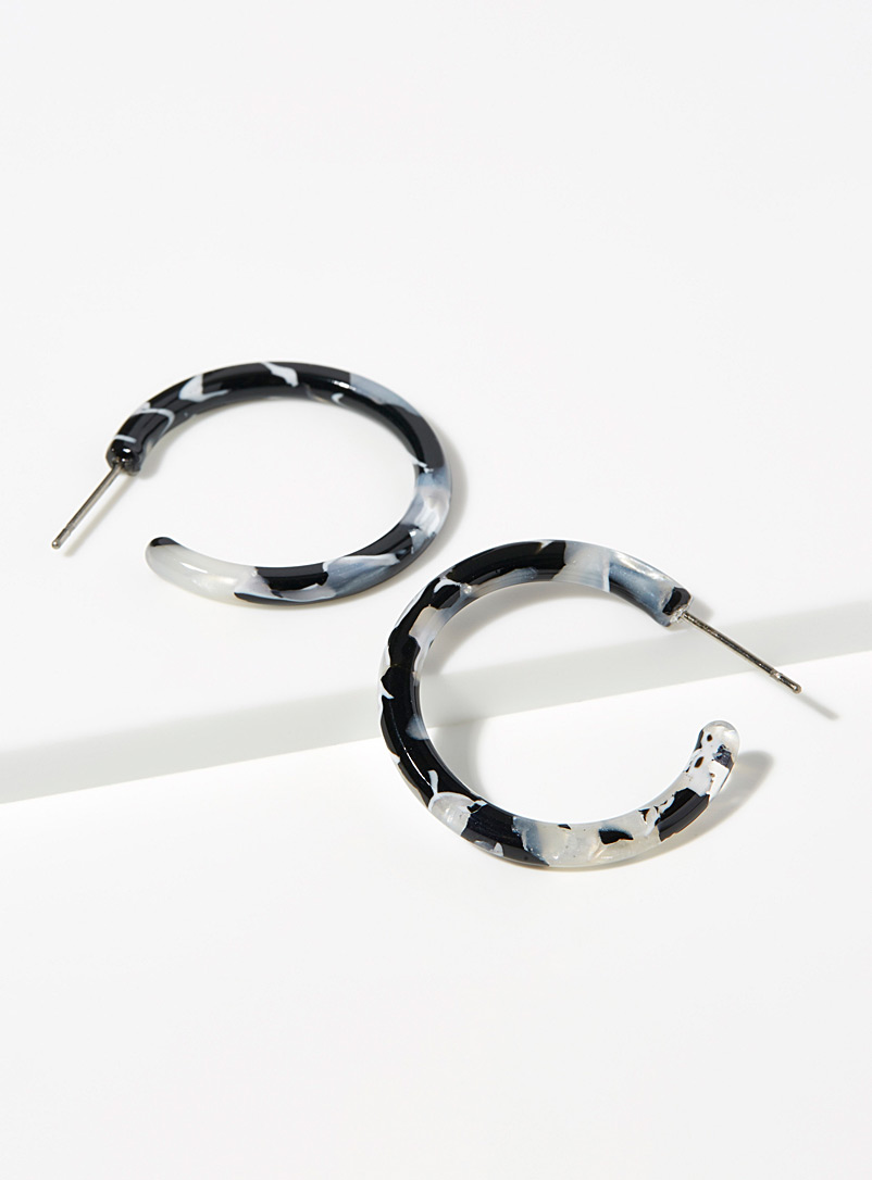 Tortoiseshell mini hoops - Earrings - Assorted black