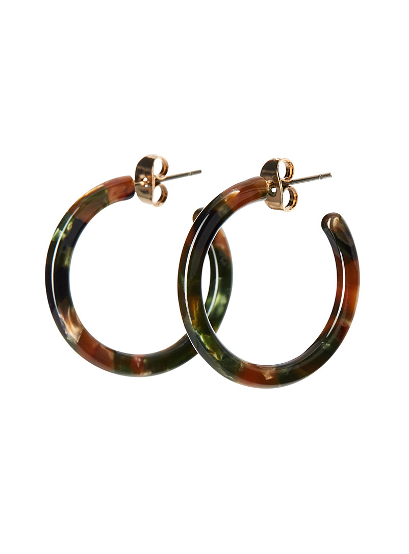Simons Green Tortoiseshell mini hoops for women