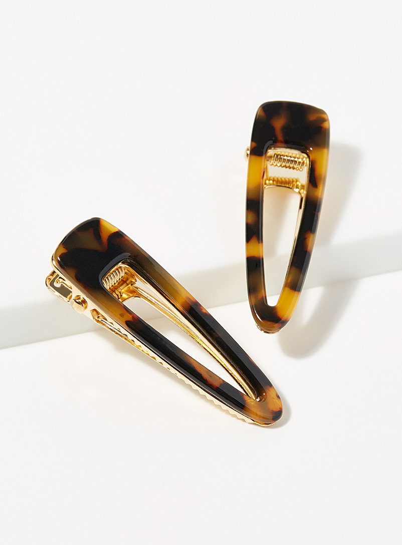 Simons Brown Two-tone retro clips  Set of 2 for women