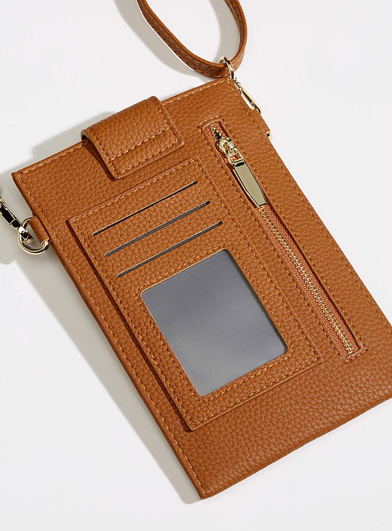 Simons Brown Snap-button phone clutch for women