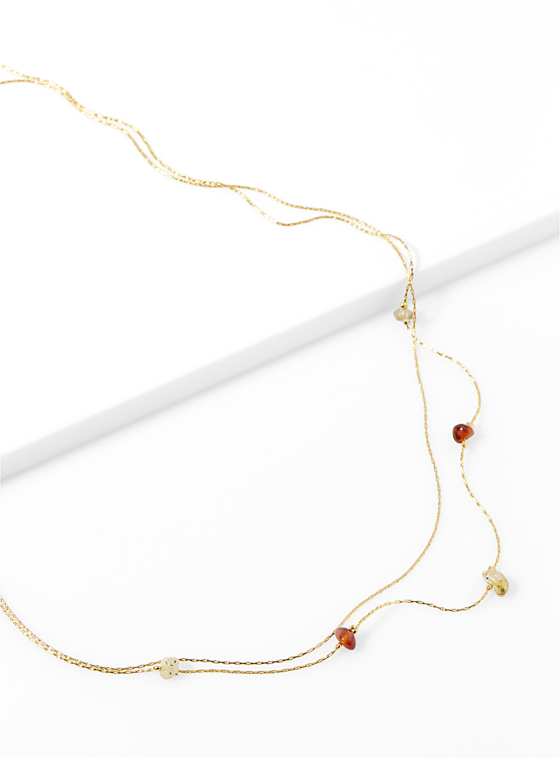 Two-tone stone necklace - Necklaces - Assorted