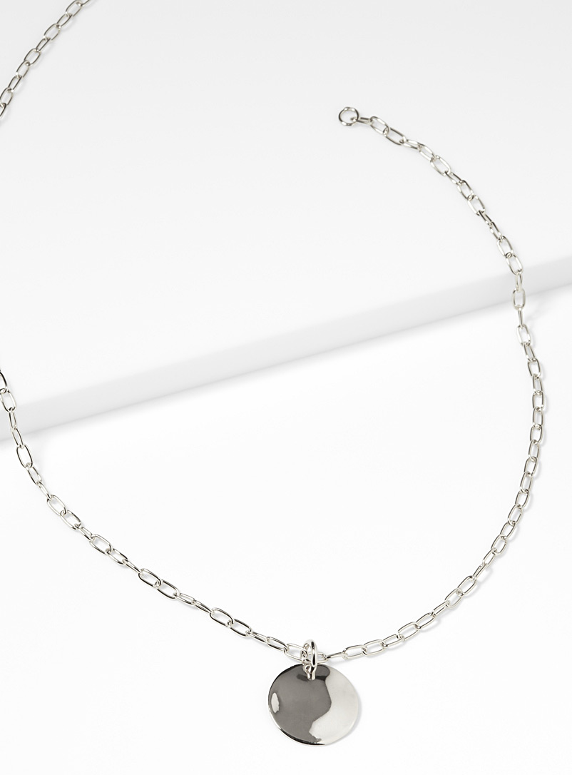 Hammered disc necklace - Genuine Silver