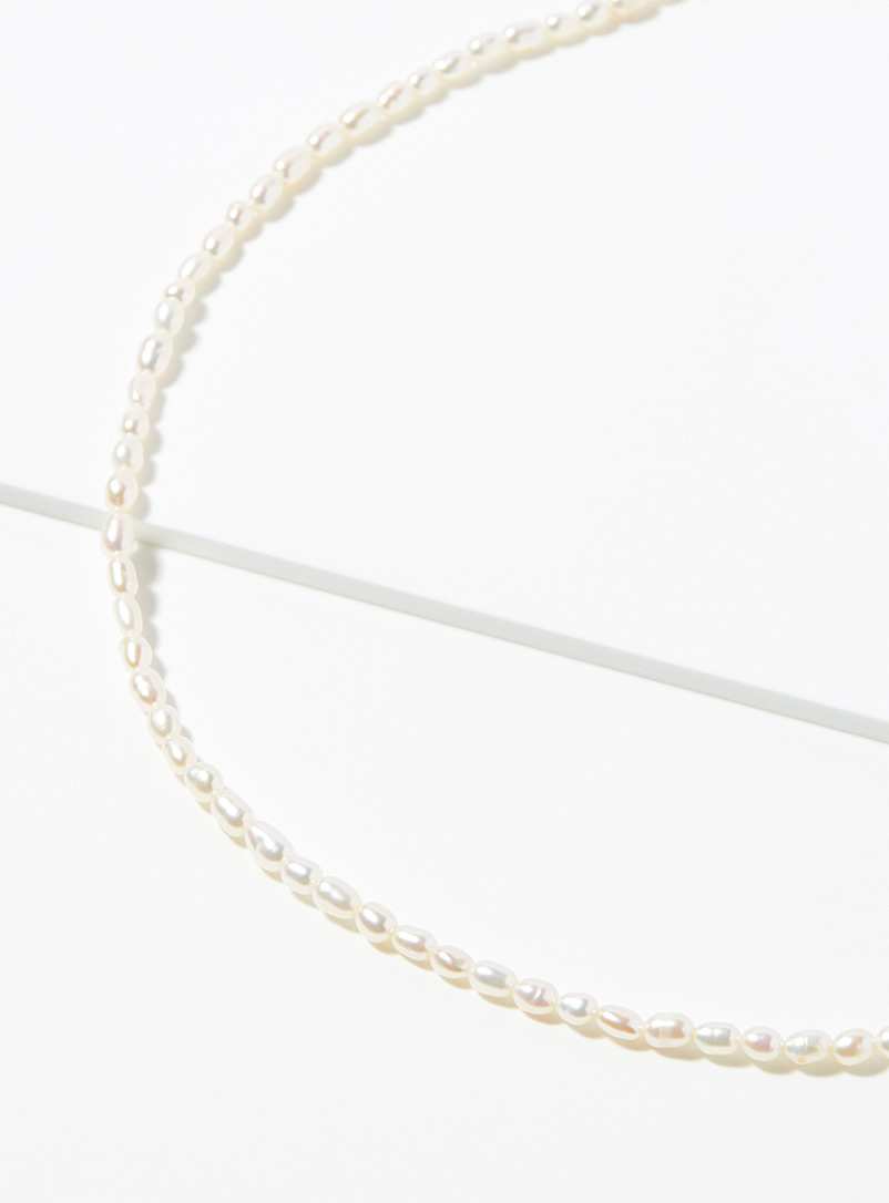 Simons White Delicate pearl necklace for women