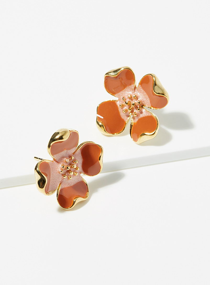 Simons Orange 3D flower earrings for women